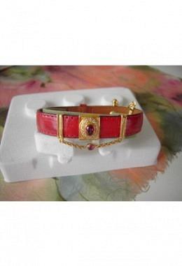 Schmuckarmband mit wunderschönen zauberhaften Aufsteckelementen Motiv roter Stein  /Band rot