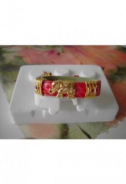 Schmuckarmband mit wunderschönen zauberhaften Aufsteckelementen Motiv Elefant mit Kristallen  +2 Elemente mit Stein rot/Band rot