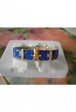 Schmuckarmband mit wunderschönen zauberhaften Aufsteckelementen Motiv Bär mit Kristallen+2Schiebeelementen m.Kristalle/Band blau