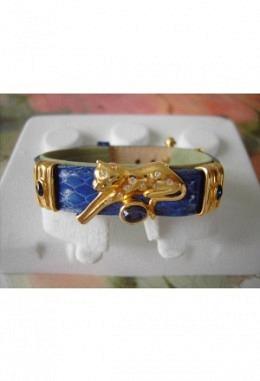 Schmuckarmband mit wunderschönen zauberhaften Aufsteckelementen Motiv Panther mit 2 Schiebeelem. Stein/ Band blau